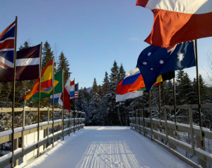 Lake Placid Olympic Cross-country trails flags by Adirondack Lifestyle