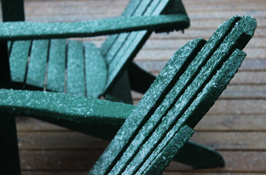 First snow in Lake Placid on Adirondack Chair 10-19-14